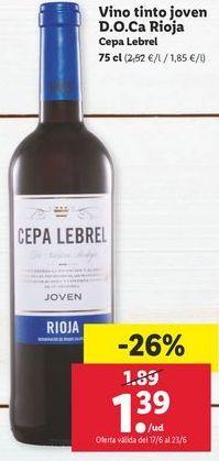 Oferta de Vino tinto Cepa Lebrel por 1,39€