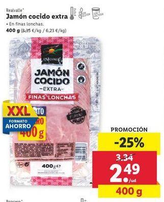 Oferta de Jamón cocido extra Realvalle por 2,49€