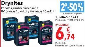 Oferta de DryNites Pañales Jumbo niño o niña  por 13,49€