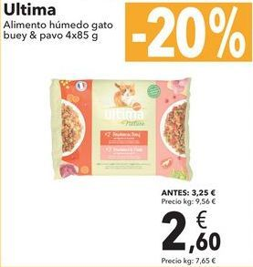 Oferta de Ultima Alimento Húmedo gato buey & pavo  por 2,6€