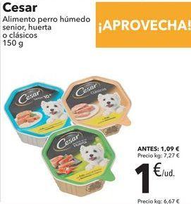 Oferta de Cesar Alimento perro húmedo senior, huerta o clásicos  por 1€