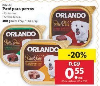Oferta de Paté para perros Orlando por 0,55€
