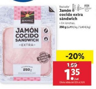 Oferta de Jamón cocido extra Realvalle por 1,35€