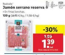Oferta de Jamón serrano Realvalle por 1,39€