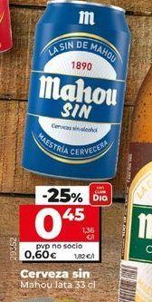Oferta de Cerveza sin alcohol Mahou por 0,45€