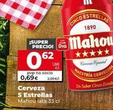 Oferta de Cerveza 5 estrellas  Mahou por 0,62€