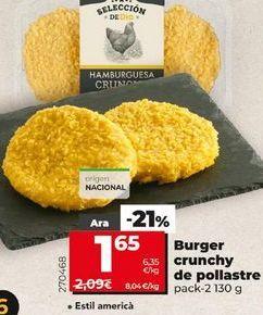 Oferta de Burger Crunchy de pollo  por 1,65€