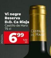 Oferta de Vino tinto reserva Castillo de Haro por 6,99€