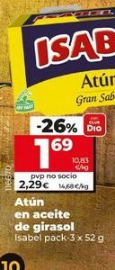 Oferta de Atún en aceite de girasol Isabel por 1,69€