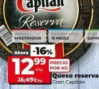 Oferta de Queso reserva Gran Capitán por 12,99€