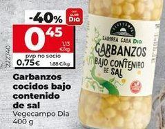Oferta de Garbanzos cocidos bajo contendio de sal por 0,45€
