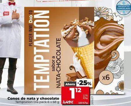 Oferta de Conos de nata y chocolate Dia por 1,12€