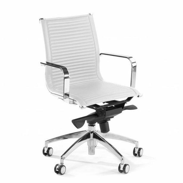 Oferta de Sillón de oficina Croma, marco de acero, respaldo bajo blanco por 239€