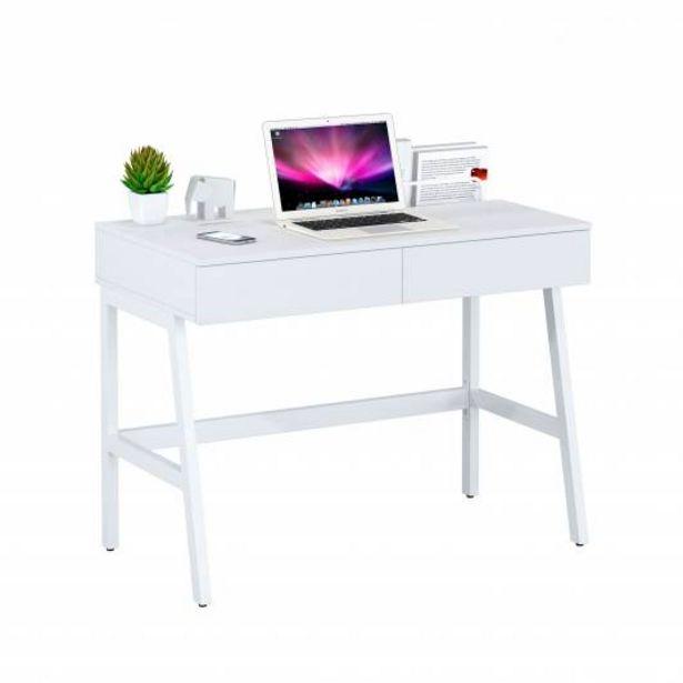 Oferta de Mesa de escritorio con cajones Gloss, blanco por 129€