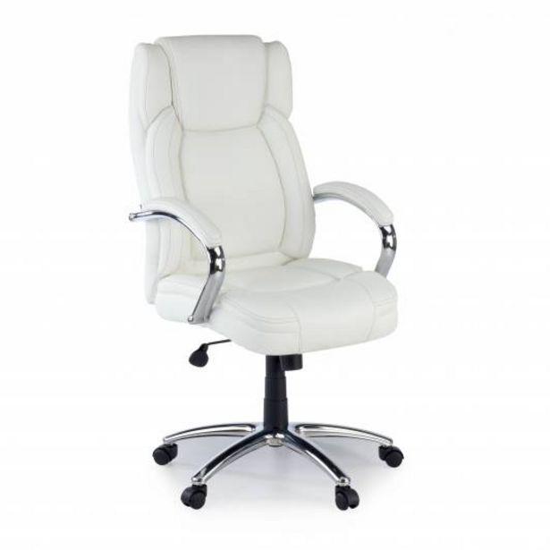 Oferta de Sillon de oficina Glasgow, brazos tapizados, blanco por 160€