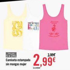 Oferta de Camiseta estampada sin mangas mujer por 2,99€