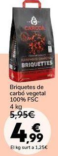 Oferta de Briquetas de carbón vegetal 100% FSC por 4,99€