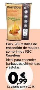 Oferta de Pack 28 Pastillas de encendido de madera comprimida FSC Carrefour por 0,99€