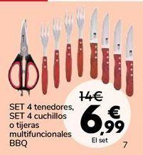 Oferta de SET 4 tenedores, SET 4 cuchillos o tijeras multifuncionales BBQ por 6,99€