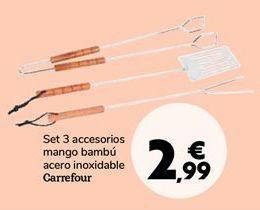 Oferta de Set 3 accesorios mango bambú acero inoxidable Carrefour por 2,99€