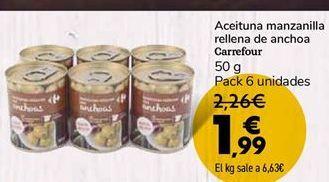Oferta de Aceitunas manzanilla rellena de anchoa Carrefour  por 1,99€