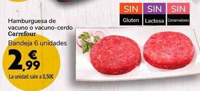 Oferta de Hamburguesa de vacuno o vacuno-cerdo Carrefour  por 2,99€