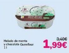 Oferta de Helado de menta y chocolate Carrefour por 1,99€