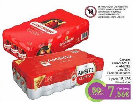Oferta de Cerveza CRUZCAMPO o AMSTEL por 15,12€