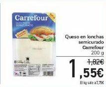 Oferta de Queso en lonchas semicurado Carrefour por 1,55€