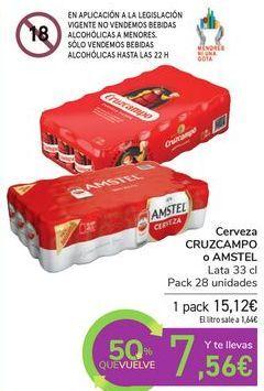 Oferta de Cerveza CRZCAMPO o AMSTEL  por 15,12€