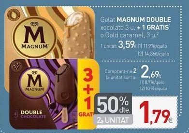 Oferta de Helado MAGNUM DOUBLE chocolate o Gold caramelo por 2,69€