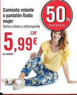 Oferta de Camiseta volante o pantalón fluido mujer  por 5,99€