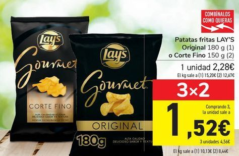 Oferta de Patatas fritas LAY'S Original o Corte Fino por 2,28€