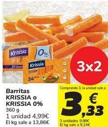 Oferta de Barritas KRISSIA o KRISSIA 0% por 4,99€