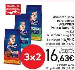 Oferta de Alimento seco para perro BREKKIES Pollo o Buey o Salmón  por 24,95€