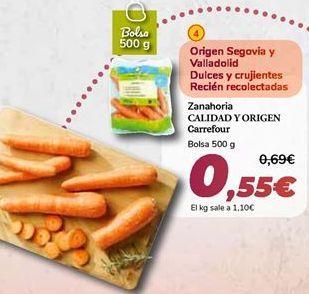 Oferta de Zanahoria CALIDAD Y ORIGEN Carrefour por 0,55€