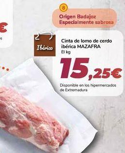 Oferta de Cinta de lomo de cerdo ibérica MAZAFRA  por 15,25€