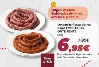 Oferta de Longaniza fresca blanca o roja EMBUTIDOS ONTENIENTE por 6,95€