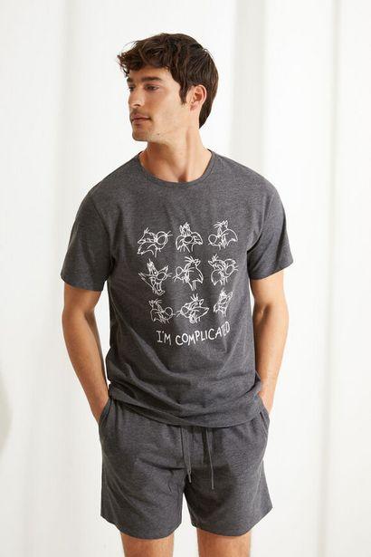 Oferta de Pijama corto de manga corta estampado Silvestre gris por 17,99€