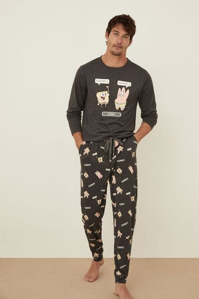 Oferta de Pijama Bob Esponja algodón gris por 23,99€