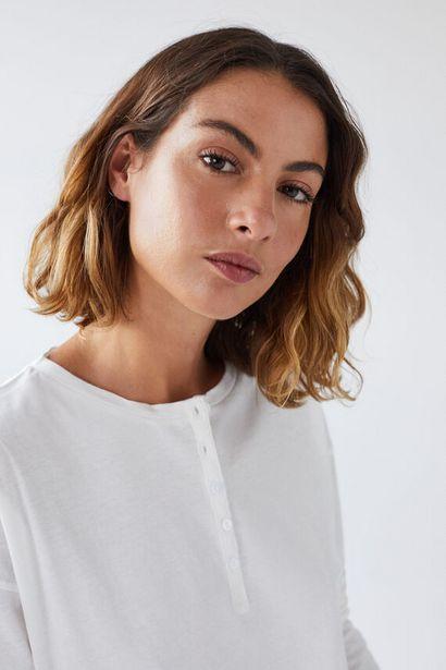 Oferta de Camiseta larga panadera algodón blanco crudo por 8,99€