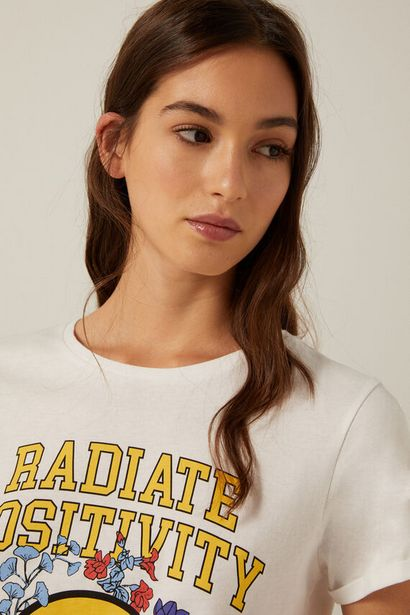 "Oferta de Camiseta ""Radiate positivity"" algodón orgánico por 3,99€"