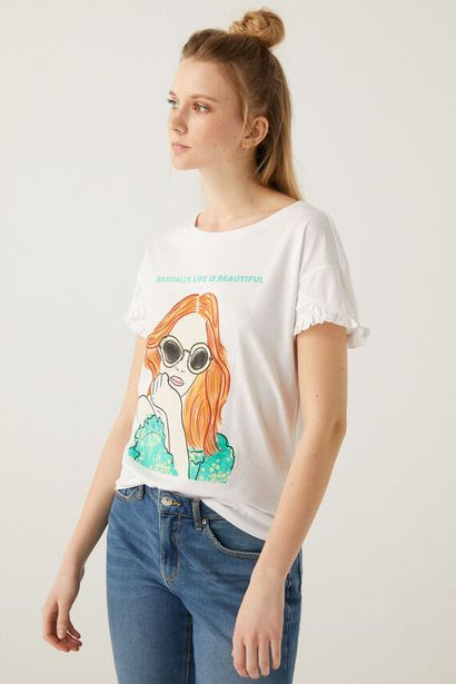 Oferta de Camiseta gráfica mangas volante por 4,99€