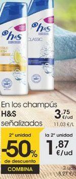 Oferta de En los champus H&S señalizados por 3,75€