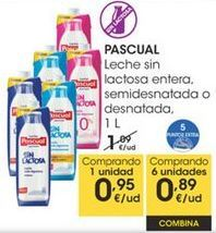 Oferta de PASCUAL Leche sin lactosa entera, semidesnatada o desnatada, 1L por 0,95€