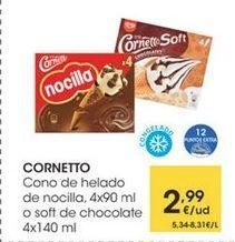 Oferta de CORNETTO Cono de helado de nocilla,4x90 ml o soff de chocolate 4 x 140 ml por 2,99€