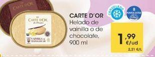 Oferta de Helado de vainilla O DE CHOCOLATE, 900ML por 1,99€