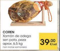Oferta de Xamon de adega sen pata, peza aprox. 6,5kg por 39€