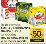 Oferta de En las cervezas AMSTEL y CRUZCAMPO SHANDY 6x25cl señalizadas por