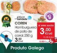 Oferta de Hamburguesas de pollo de corral, 250g por 3,5€